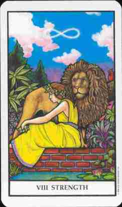 image of the strength card, with a woman sitting calmly next to a lion and the infinity symbol in the background